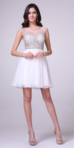 Illusion Beaded Short Homecoming Dress Sleeveless Off White