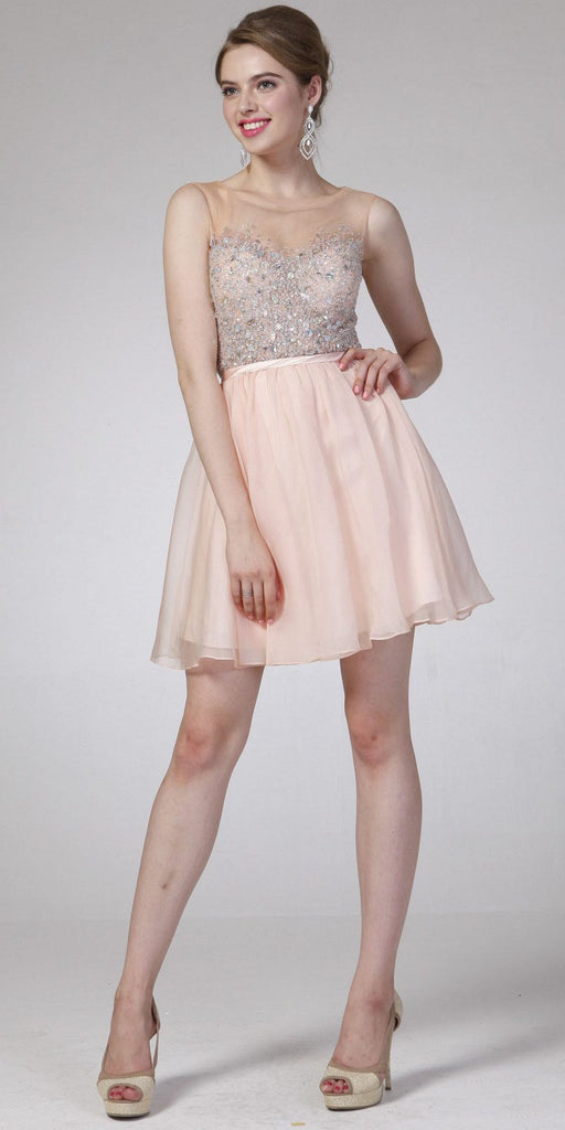 Illusion Beaded Short Homecoming Dress Sleeveless Peach