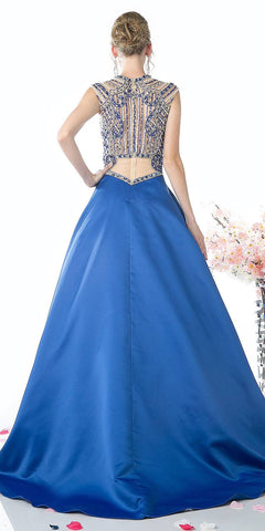Royal Blue Beaded Top Long Prom Dress with Pockets