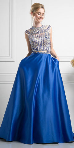 Ball Gown Style Prom Dress Navy Blue Floor Length Removable Bow