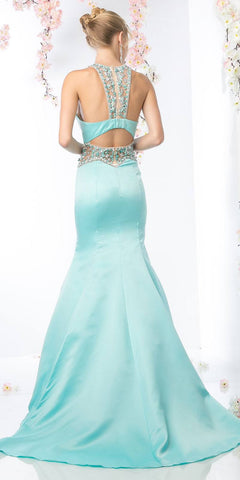 Aqua Halter Long Prom Dress Beaded Cut-Out Back