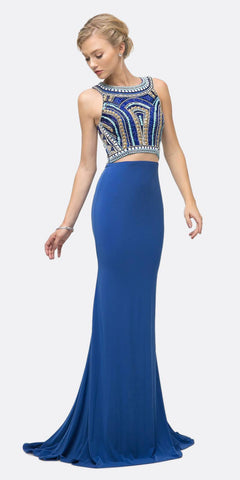 Beaded Bodice 2 Piece Stretch Knit Sheath Gown