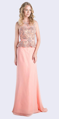 A-Line Tulle Gown Mauve With Cap Sleeve Beaded Lace Applique Leg Slit