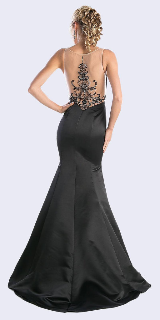 Cinderella Divine CK62 Illusion Sweetheart Trumpet Bridal Gown Black Illusion Back