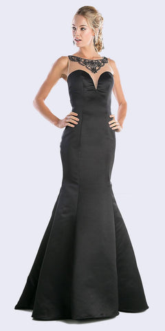 Long Formal Evening Dress Navy Blue Sleeveless Lace Bateau Neckline