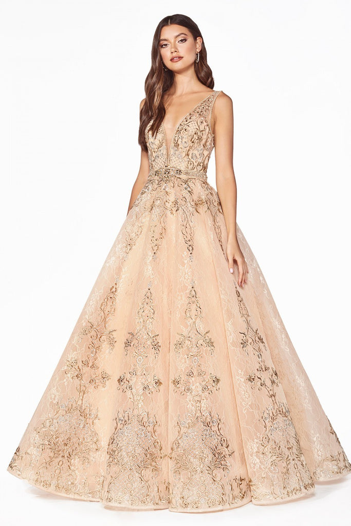 Appliqued Champagne Prom Ball Gown Open-Back