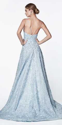 Cinderella Divine CK834 Floor Length Floral Ball Gown Blue V-Neckline And Strappy Back