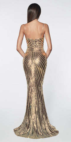 Cinderella Divine CK848 Gold Fitted Gown With Metallic Sequined And Art Deco Beaded Details