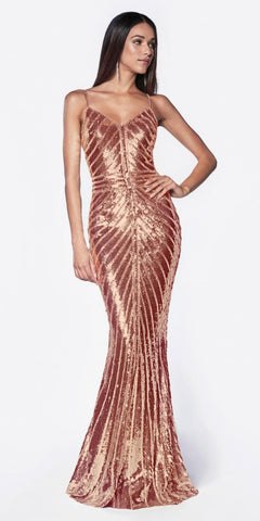 Cinderella Divine CK848 Rose Gold Fitted Gown With Metallic Sequined And Art Deco Beaded Details