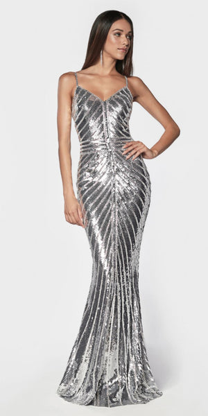 Cinderella Divine CK848 Silver Fitted Gown With Metallic Sequined And Art Deco Beaded Details