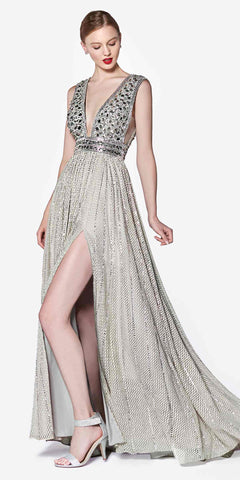 Cinderella Divine Black Label CK892 Silver Dress Full Length