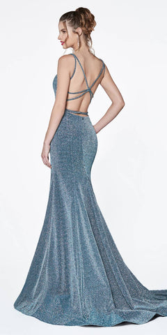 Cinderella Divine CM301 Long Fitted Gown Teal Metallic Fabric Criss Cross Open Back