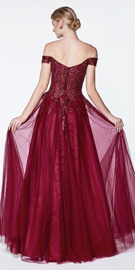 Cinderella Divine CM303 Off The Shoulder Tulle A-Line Gown Burgundy Beaded Lace Bodice Leg Slit