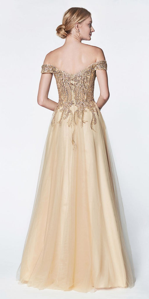 Cinderella Divine CM303 Off The Shoulder Tulle A-Line Gown Gold Beaded Lace Bodice Leg Slit