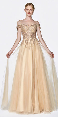 Gold Glitter Mesh A-Line Long Prom Dress V-Neck