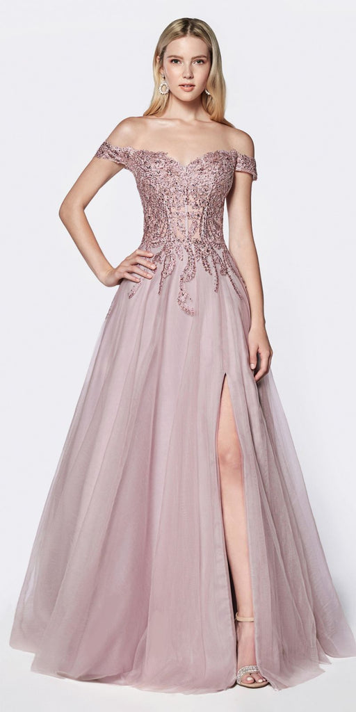 Cinderella Divine CM303 Off The Shoulder Tulle A-Line Gown Mauve Beaded Lace Bodice Leg Slit