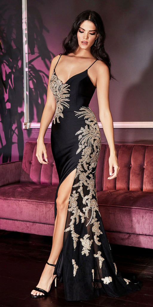 Cinderella Divine CM311 Black/Gold Embellished Long Prom Dress Strappy Back with Slit