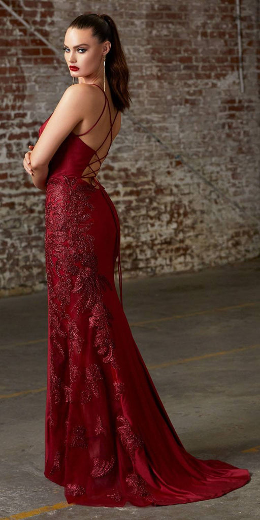 Cinderella Divine CM311 Burgundy Embellished Long Prom Dress Strappy Back with Slit