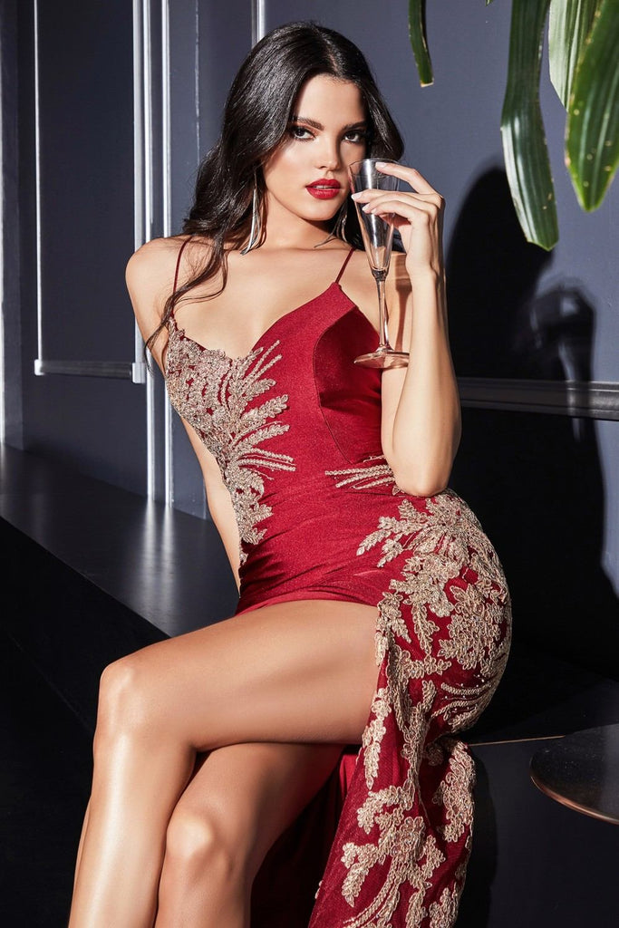Cinderella Divine CM311 Burgundy/Gold Embellished Long Prom Dress Strappy Back with Slit