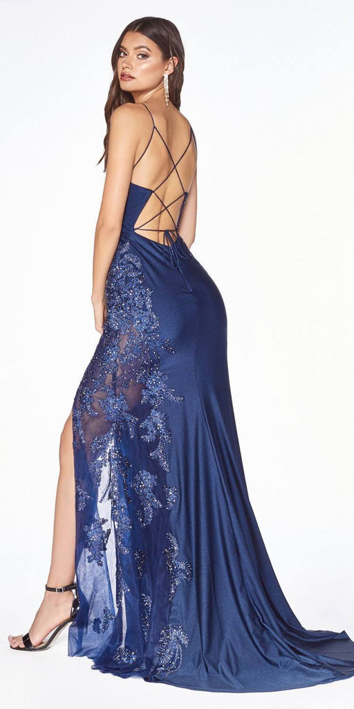 Cinderella Divine CM311 Navy Blue Embellished Long Prom Dress Strappy Back with Slit