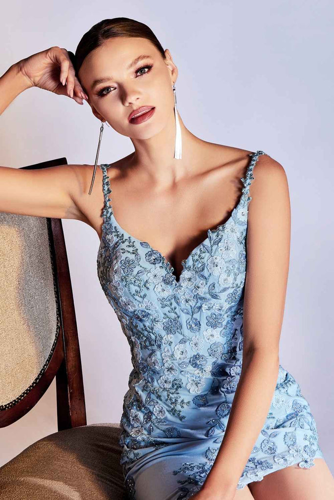 Cinderella Divine CM315 Long Fitted Floral Applique Asymmetrical Blue Dress Thin Straps