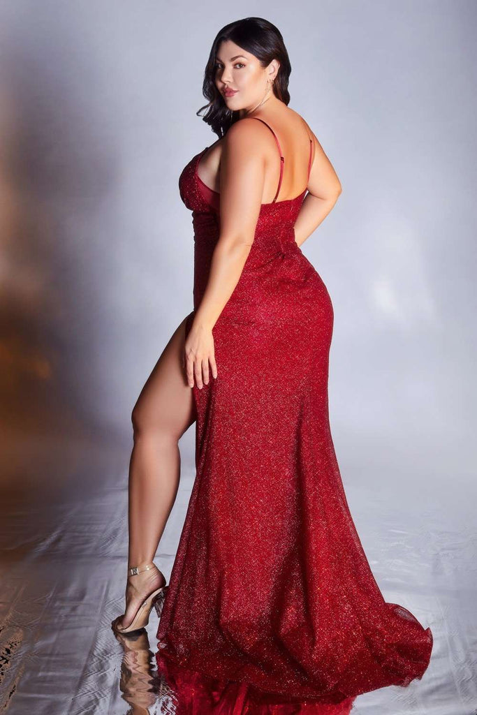 Cinderella Divine CM8017 Ruby Glitter Curve Gown With Front Slit and Spaghetti Straps