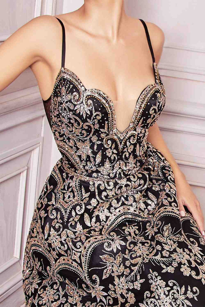 Cinderella Divine CM8075 Long Gold/Black A-Line Glitter Print Gown Scalloped Sweetheart Neckline
