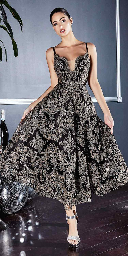 Cinderella Divine CM8076 Tea Length Gold/Black A-Line Glitter Print Gown Scalloped Sweetheart Neckline