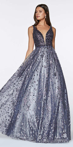 Floor Length Strapless Glitter Gown Metallic Blue Pointed Sweetheart Neckline Leg Slit