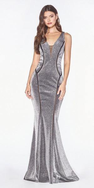 Metallic Black Mermaid Style Long Prom Dress V-Back
