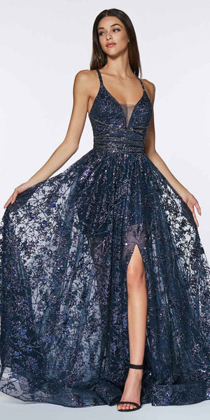 Cinderella Divine CM9015 Long Glitter Ball Navy Blue Gown With Criss Cross Open Back And Leg Slit
