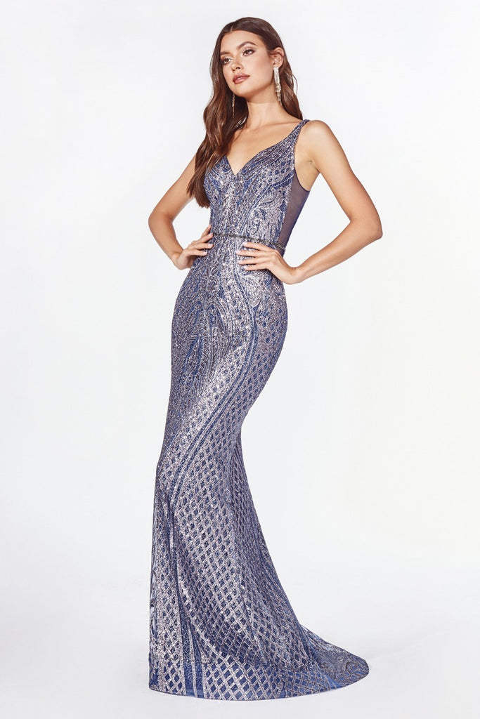Cinderella Divine CM9041 V-Neck Glitter-Embellished Long Prom Dress Navy Blue