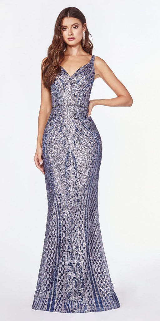 Art Deco Fitted Navy Blue Print V-Neck Glitter-Embellished Long Dress