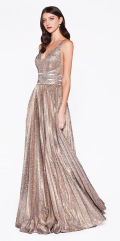 Low V Neck Illusion Side Panel Glitter Gold Prom Gown