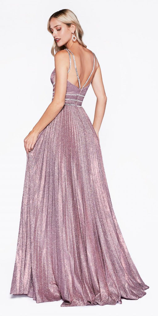 Cinderella Divine CM9061 Long A-Line Dress Blush Plunge Neckline Pleated Skirt