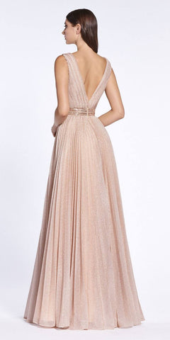 Deep V-Neck and Back Long Prom Dress Dusty Rose