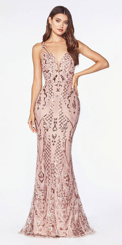 Lilac Embroidered Long Prom Dress Deep V-Back