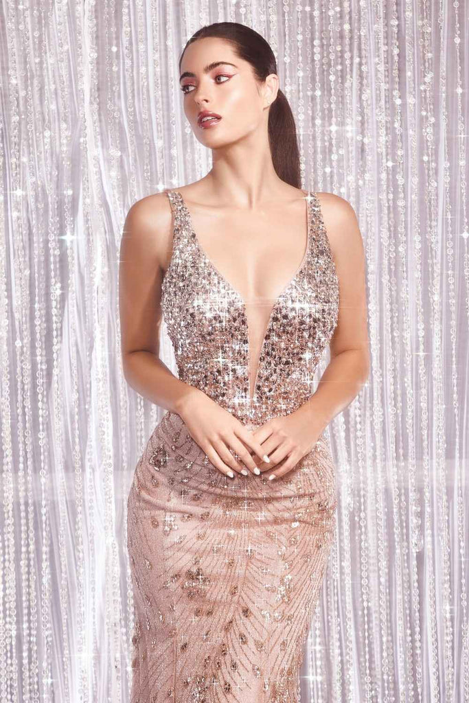 Cinderella Divine CM9170 Long Fitted Mermaid Formal Glitter Rose Gold Dress Beaded Top V-Neck