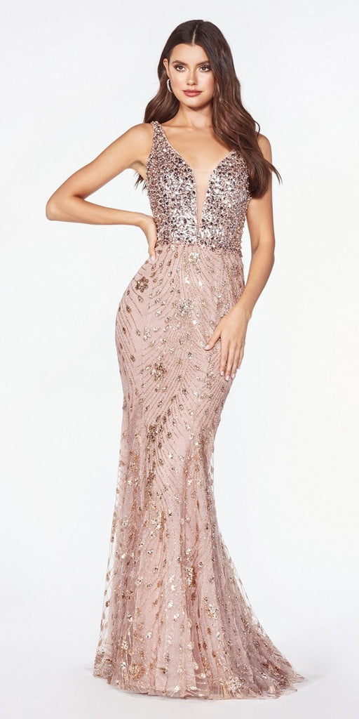 Glitter Rose Gold Long Mermaid Prom Dress Beaded Top