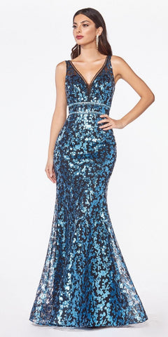 Deep V-Back Sequins Mermaid Long Prom Dress Blue/Black