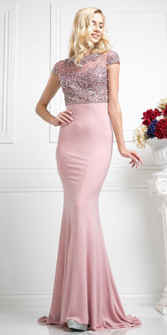 Beaded Top Dusty Rose Long Mermaid Prom Dress