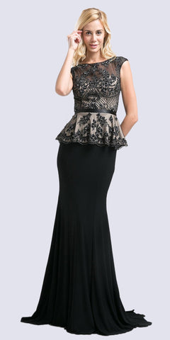 Bateau Neckline Lace Bodice Evening Dress Black Peplum