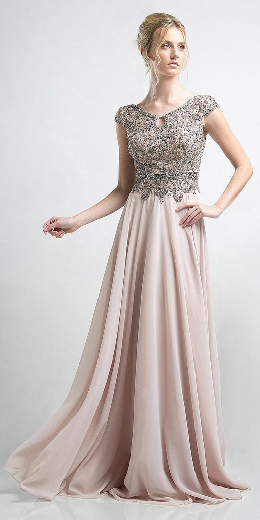 Cinderella Divine CR721 Cap Sleeves Beaded Evening Dress Champagne