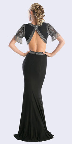 Black Beaded Short Sleeved Two-Piece Prom Gown