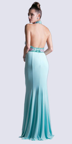 Cinderella Divine CR770 Long Fitted Jersey Gown Mint Green Beaded Halter Neckline Open Back