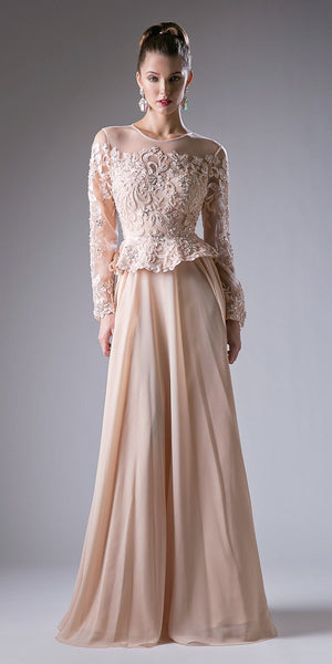 Champagne Long Sleeved Formal Dress with Appliques