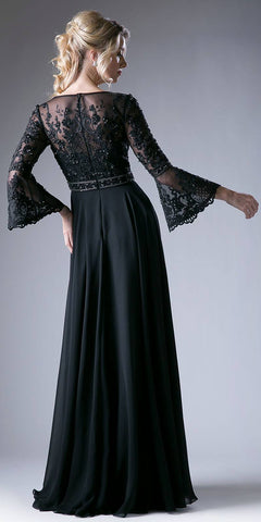 Embroidered Long Formal Dress with Trumpet Long Sleeves Black