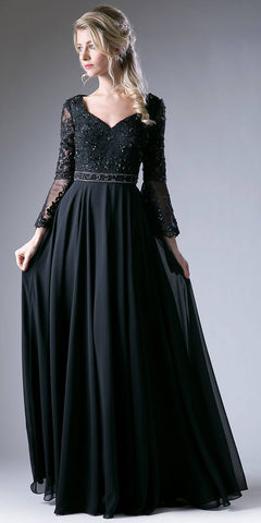 Cinderella Divine CR773 Embroidered Long Formal Dress with Trumpet Long Sleeves Black
