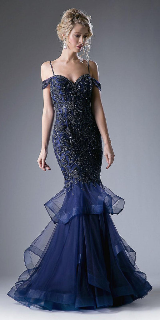 Navy Blue Tiered Mermaid Prom Gown Cold Shoulder