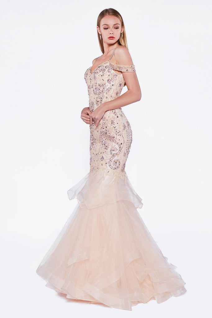 Cinderella Divine CR776 Peach Tiered Mermaid Prom Gown Cold Shoulder